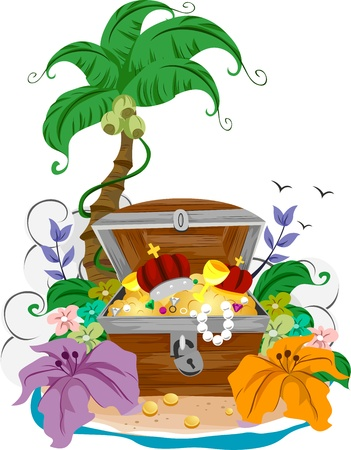 island clipart: Illustration of an Open Treasure Chest