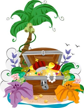 isla del tesoro: Ilustración de un cofre abierto Foto de archivo
