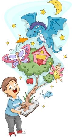 libro caricatura: Ilustraci�n de un ni�o sosteniendo un Pop Up libro