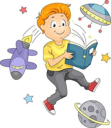 science lesson: Illustration of a Kid Reading a Space-themed Book