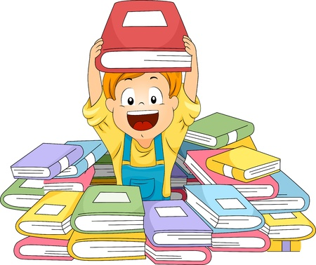 early education: Illustration of a Kid Surrounded by Piles of Books