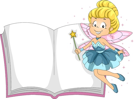Illustration of a Fairy Hovering Beside a Book illustration