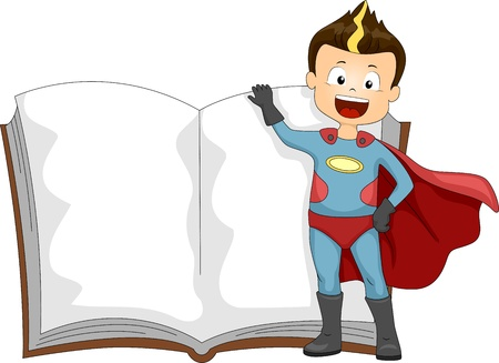 action hero: Illustration of a Kid Dressed as a Superhero Standing Beside a Book