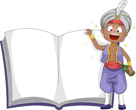 genio de la lampara: Ilustración de un genio de pie al lado de un libro