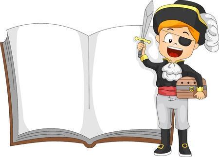 storybook: Illustration of a Kid Dressed as a Pirate Standing Beside a Book