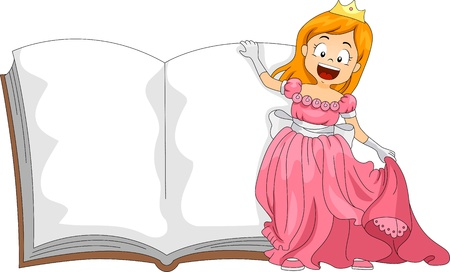 storybook: Illustration of a Girl Dressed as a Princess Standing Beside a Book Stock Photo