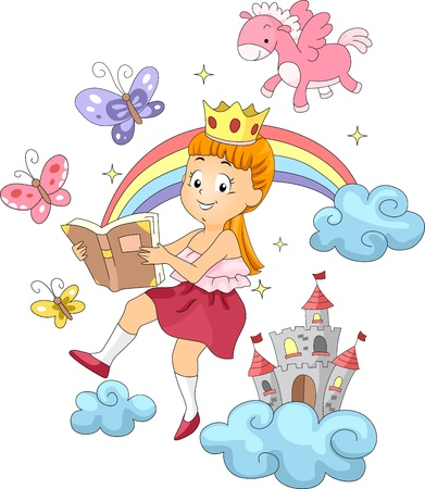 Illustration of a Kid Reading a Book with Fantastic Themes illustration