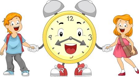 ni�os caminando: Ilustraci�n de ni�os y un reloj de alarma manos Foto de archivo
