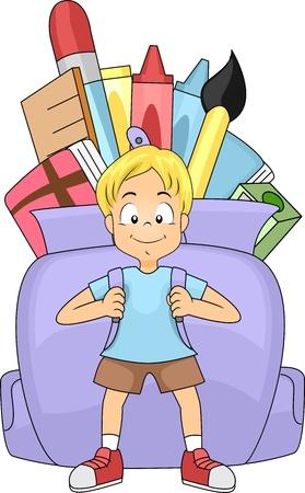 bag cartoon: Illustration of a Kid Carrying a Huge Backpack