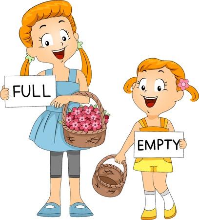 Illustration of Kids Comparing Baskets illustration