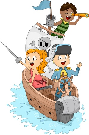 Illustration of Kids in a Pirate Ship illustration