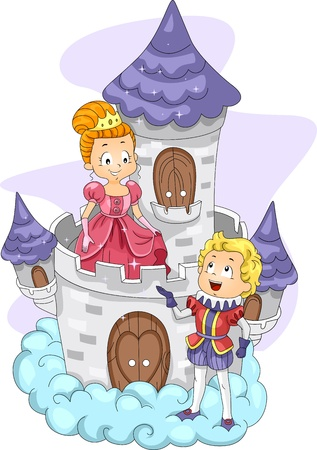 Illustration of a Prince Talking to a Princess Stock Illustration - 10327144