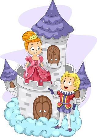 suitor: Illustrazione di un principe parlando con una principessa