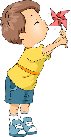pinwheel toy: Illustration of a Kid Playing with a Pinwheel