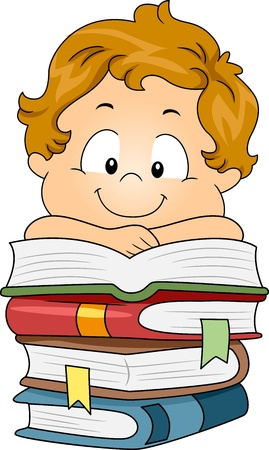 Illustration of a Kid Resting His Arms on a Pile of Books Stock Illustration - 10346996