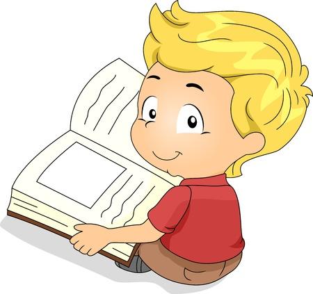 libro caricatura: Ilustración de un niño leyendo un libro