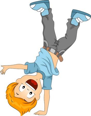 niños bailando: Ilustración de un niño haciendo un atado