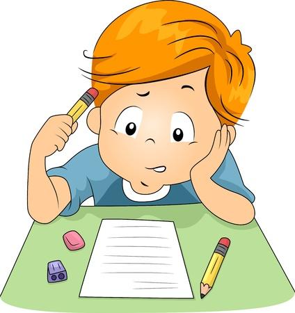 kwis: Illustratie van een jong geitje testvragen beantwoorden Stockfoto