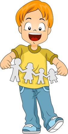 pre school: Illustration of a Kid Holding a Paper Cutout