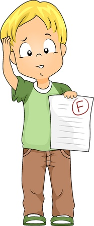 fail: Illustration of a Kid Holding a Test Paper with a Failing Grade