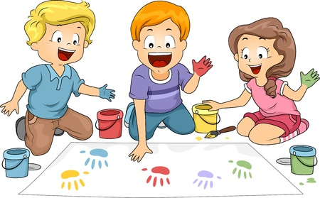 Illustration of Kids Leaving Hand Prints on a Board Stock Photo