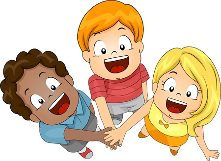 joining forces: Illustration of Kids Joining Forces Stock Photo