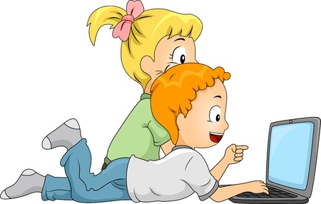 educational research: Illustration of Kids Doing an Internet Search Stock Photo