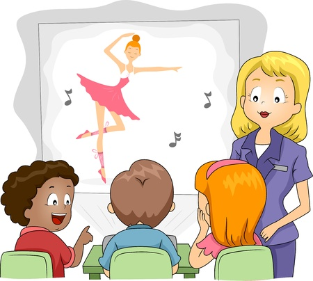 pre school: Illustration of Kids Watching a Show Through a Projector Stock Photo