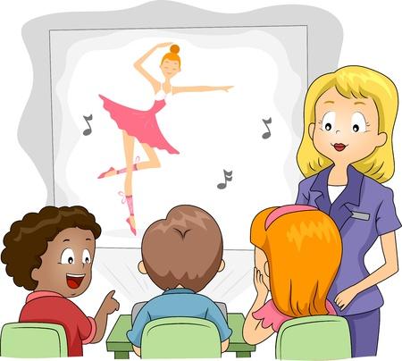 maestra preescolar: Ilustración de niños viendo un espectáculo a través de un proyector