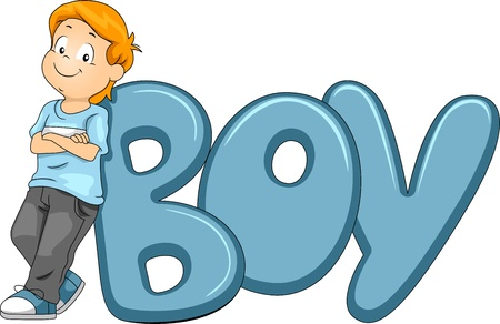 learning english: Illustration of a Kid Posing Beside the Word Boy