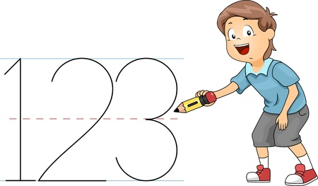 counting: Illustration of a Kid Writing Numbers