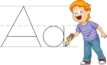 writing activity: Illustration of a Kid Writing Letters Stock Photo