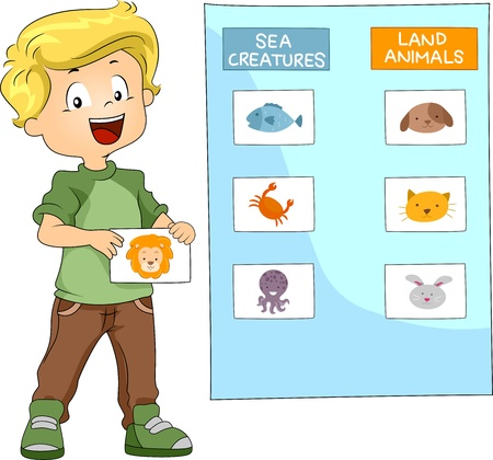 groupings: Illustration of a Kid Grouping Animals Together