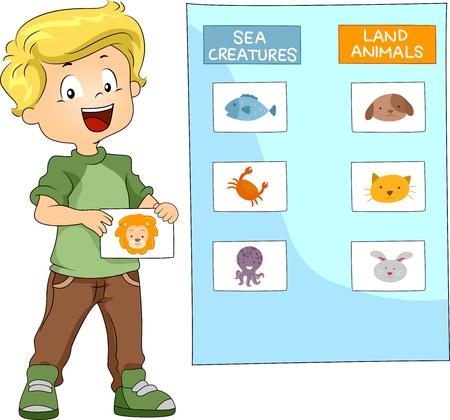groupings: Illustrazione di un ragazzino raggruppamento animali insieme