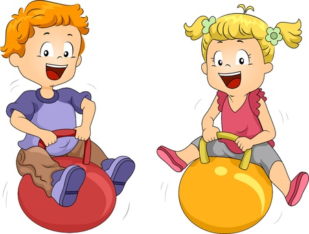 Illustration of Kids Playing with Bouncing Balls Stock Illustration - 10433034