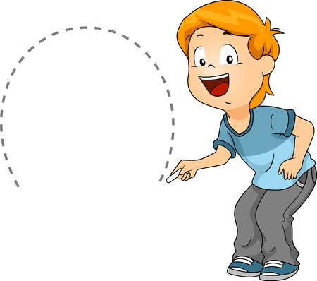 Illustration of a Kid Drawing a Semicircle illustration