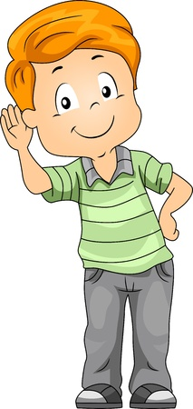 Illustration of a Kid Demonstrating His Sense of Hearing