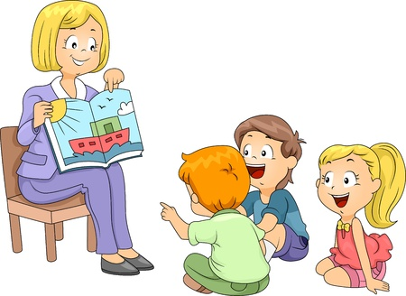 storybook: Illustration of Kids Listening to a Story Stock Photo