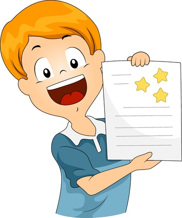 assessment: Illustration of a Kid Showing His Star Stickers