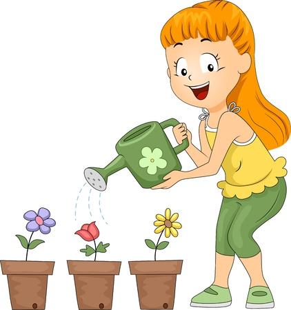 Ilustración de un chaval de regar flores / Club de jardinería