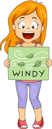 breezy: Illustration of a Girl Holding a Flashcard
