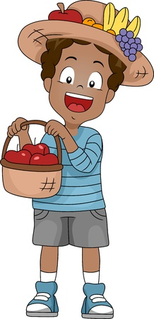 Illustration of a Kid Holding a Basket of Apples illustration