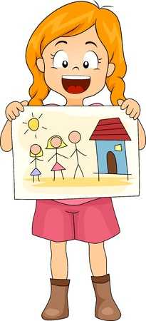 Illustration of a Kid Showing Her Drawing of Her Family