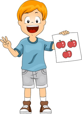 counting: Illustration of a Kid Holding a Flashcard Stock Photo