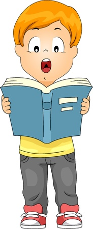 early education: Illustration of a Kid Reading a Book Out Loud