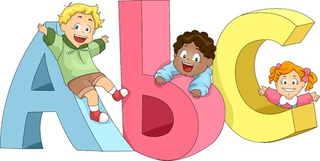 Illustration of Kids Playing with ABCs