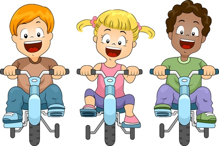 bicycle cartoon: Illustration of Kids Biking Stock Photo