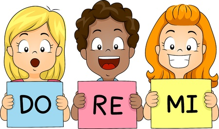 coro: Ilustración de niños sosteniendo Flashcards mientras cantaba