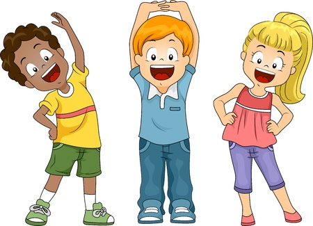 exercise cartoon: Illustration of Kids Exercising