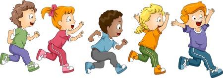 personas corriendo: Ilustraci�n de ni�os participan en un marat�n